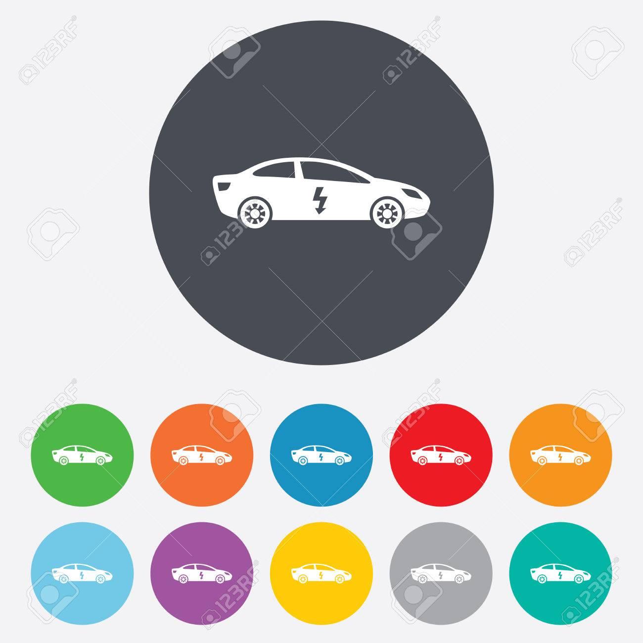Electric Car Sign Icon Sedan Saloon Symbol Electric Vehicle