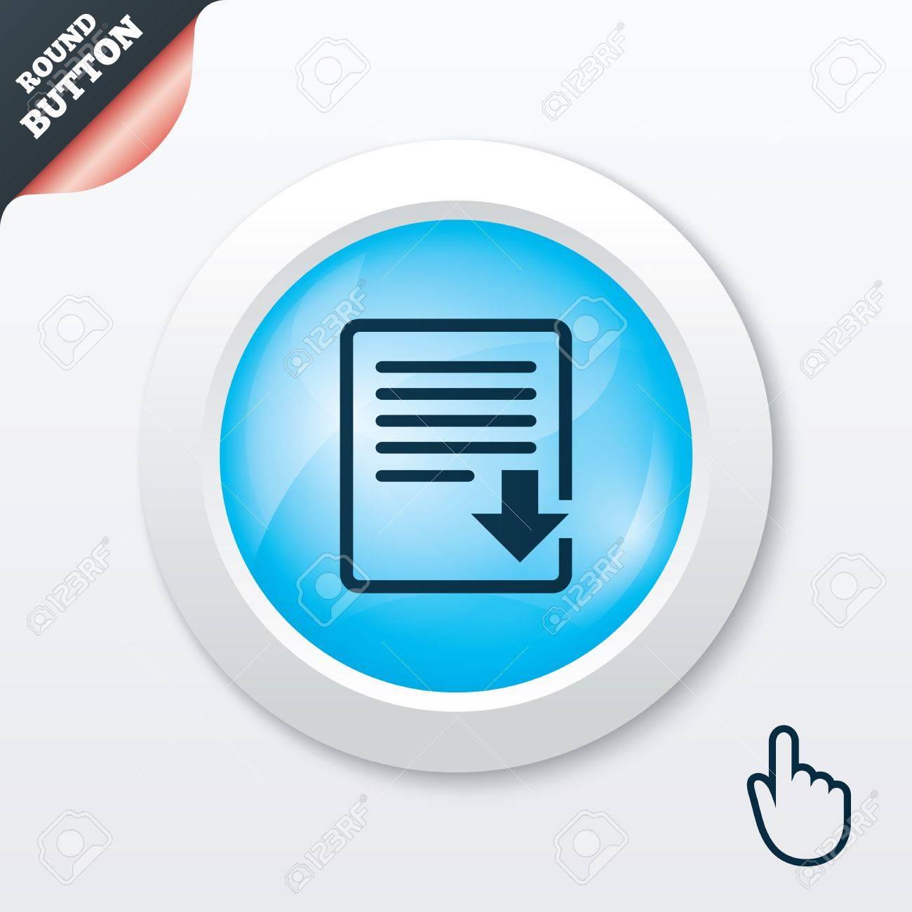 Download file icon  File document symbol  Blue shiny button
