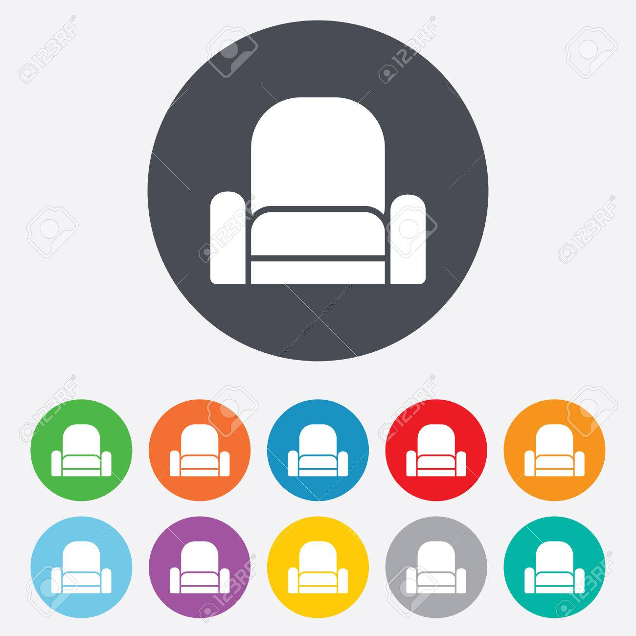 Modern Furniture Icon armchair sign icon. modern furniture symbol. round colourful