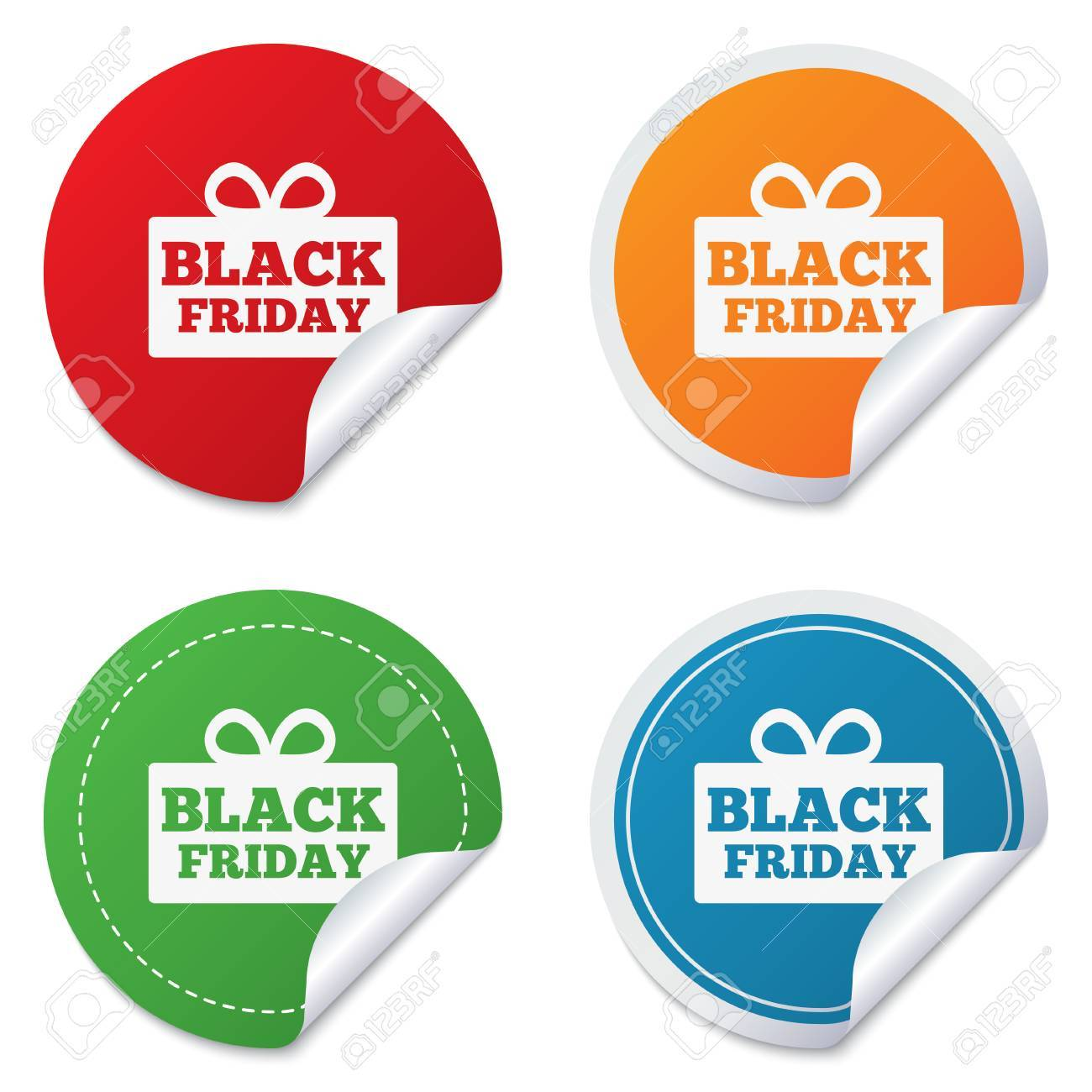 Black friday gift sign icon sale symbol special offer label round stickers