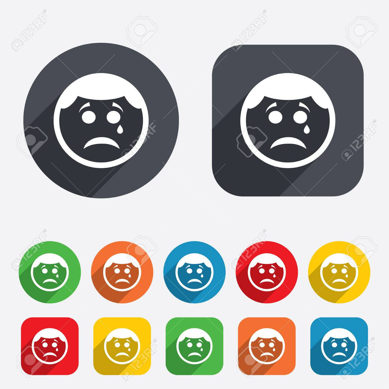 Sad Face With Tear Sign Icon Crying Chat Symbol Circles And