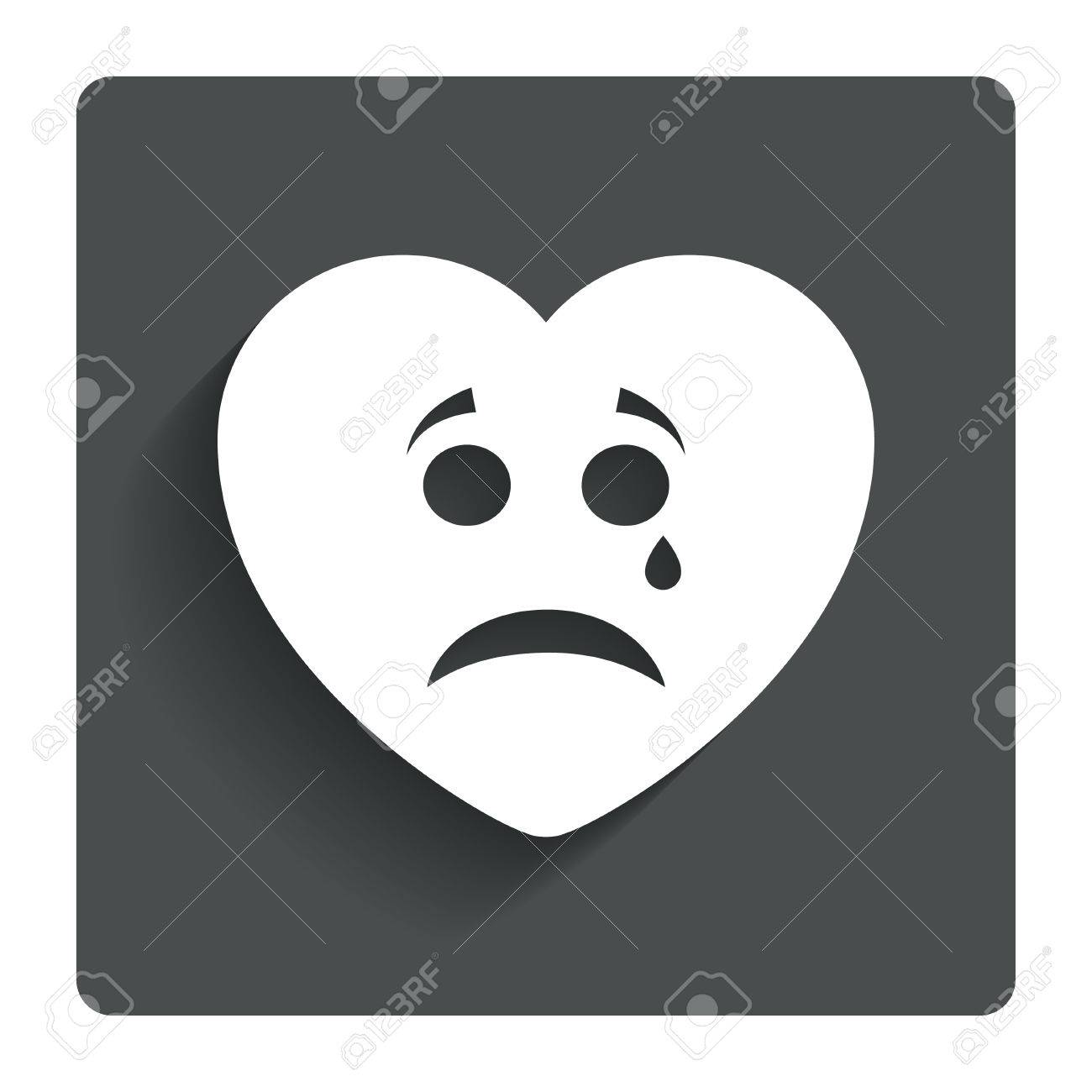 Sad Heart Face With Tear Sign Icon Crying Chat Symbol Gray