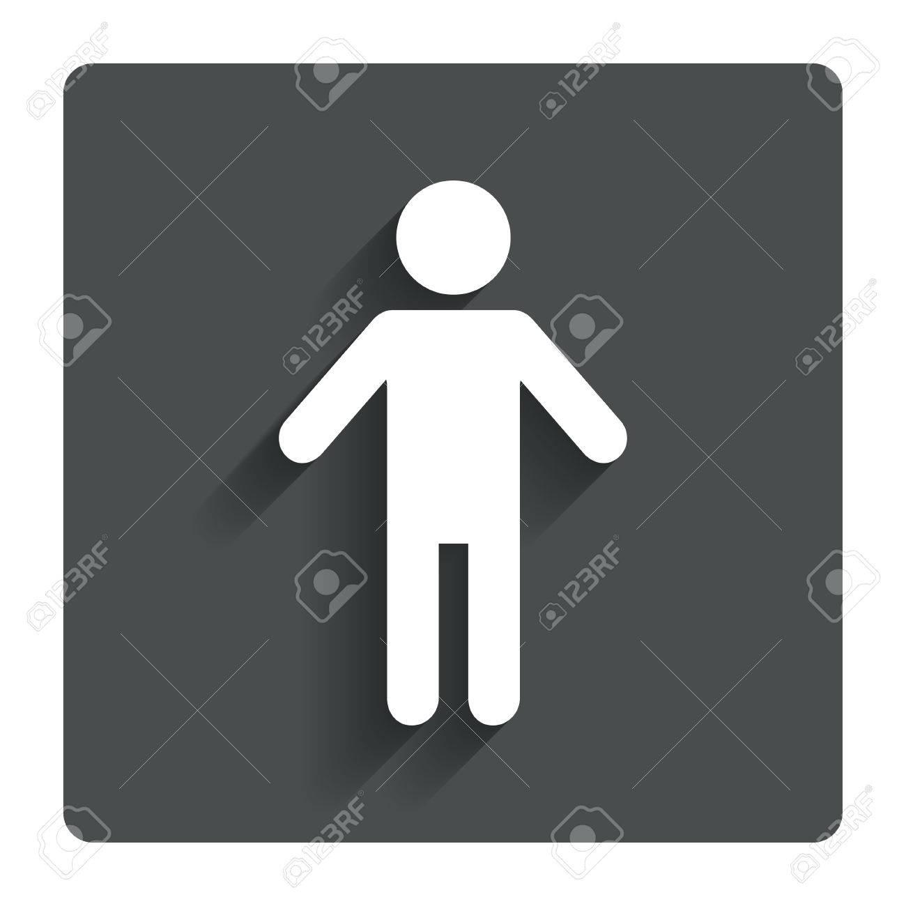 Human Male Sign Icon. Man Person Symbol. Male Toilet. Gray Flat ...