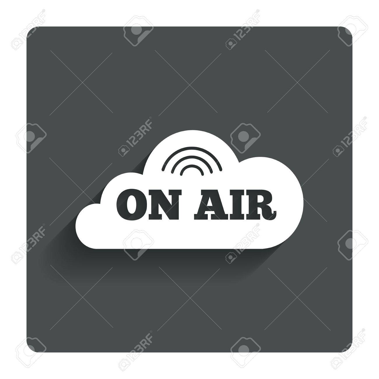 On Air Sign Icon Live Stream Symbol Gray Flat Button With Shadow