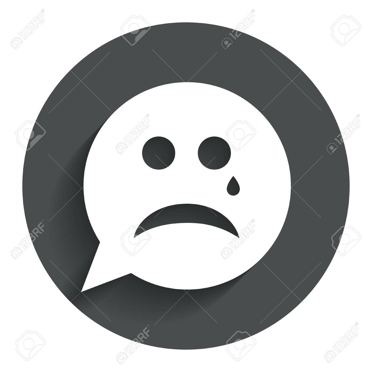Picture of sad face crying impremedia sad face with tear sign icon crying chat symbol speech bubble circle flat buycottarizona Gallery