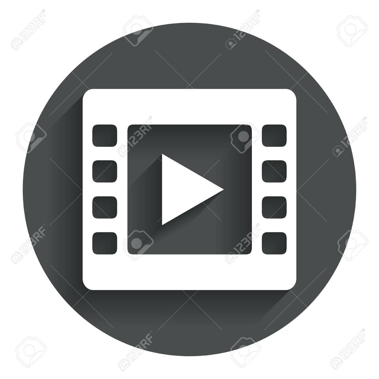 Video Sign Icon. Video Frame Symbol. Circle Flat Button With ...