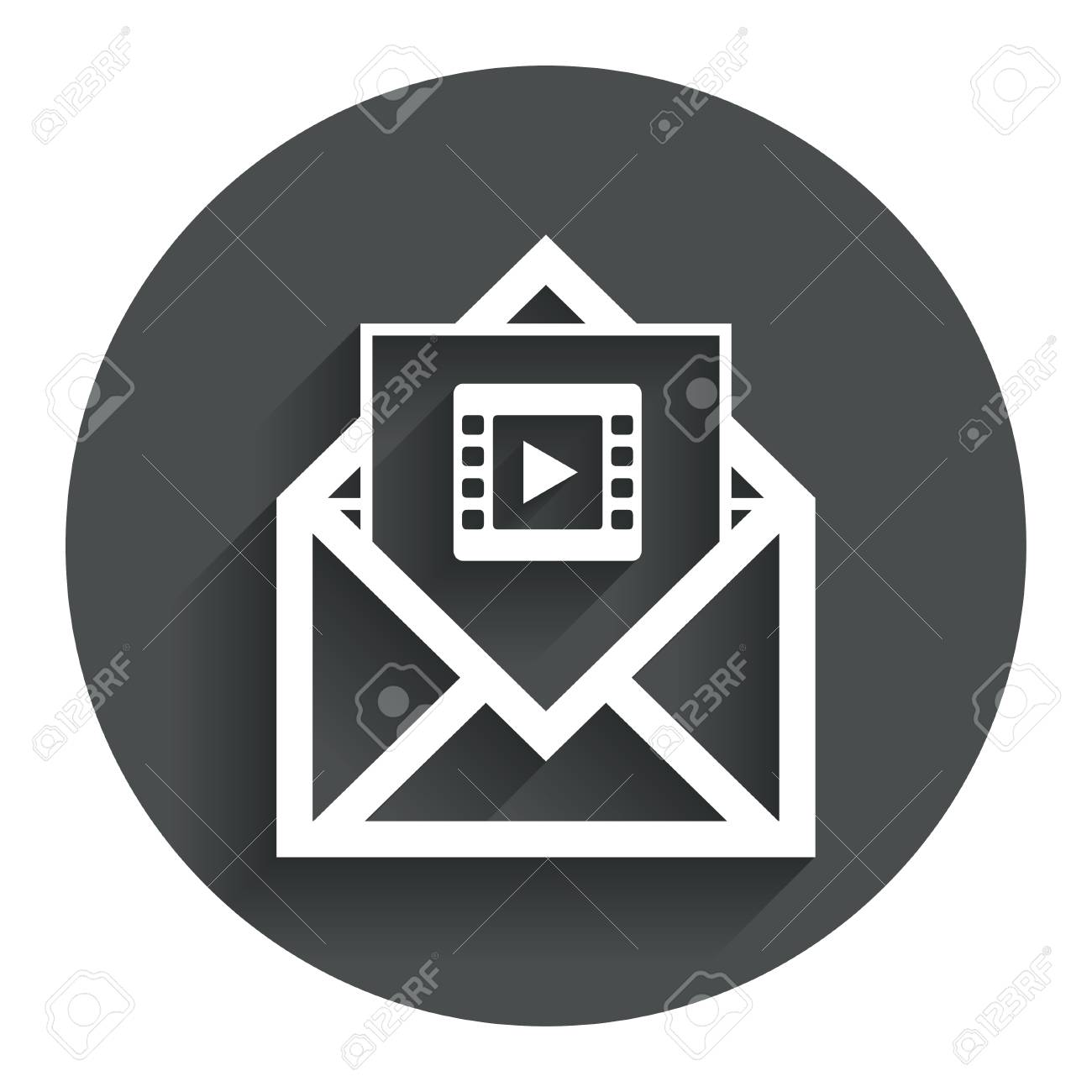 Video Mail Icon. Video Frame Symbol. Message Sign. Circle Flat ...