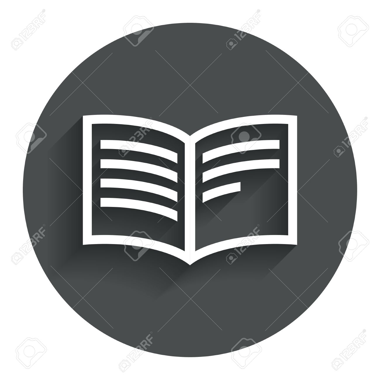 Book sign icon  Open book symbol  Circle flat button with shadow
