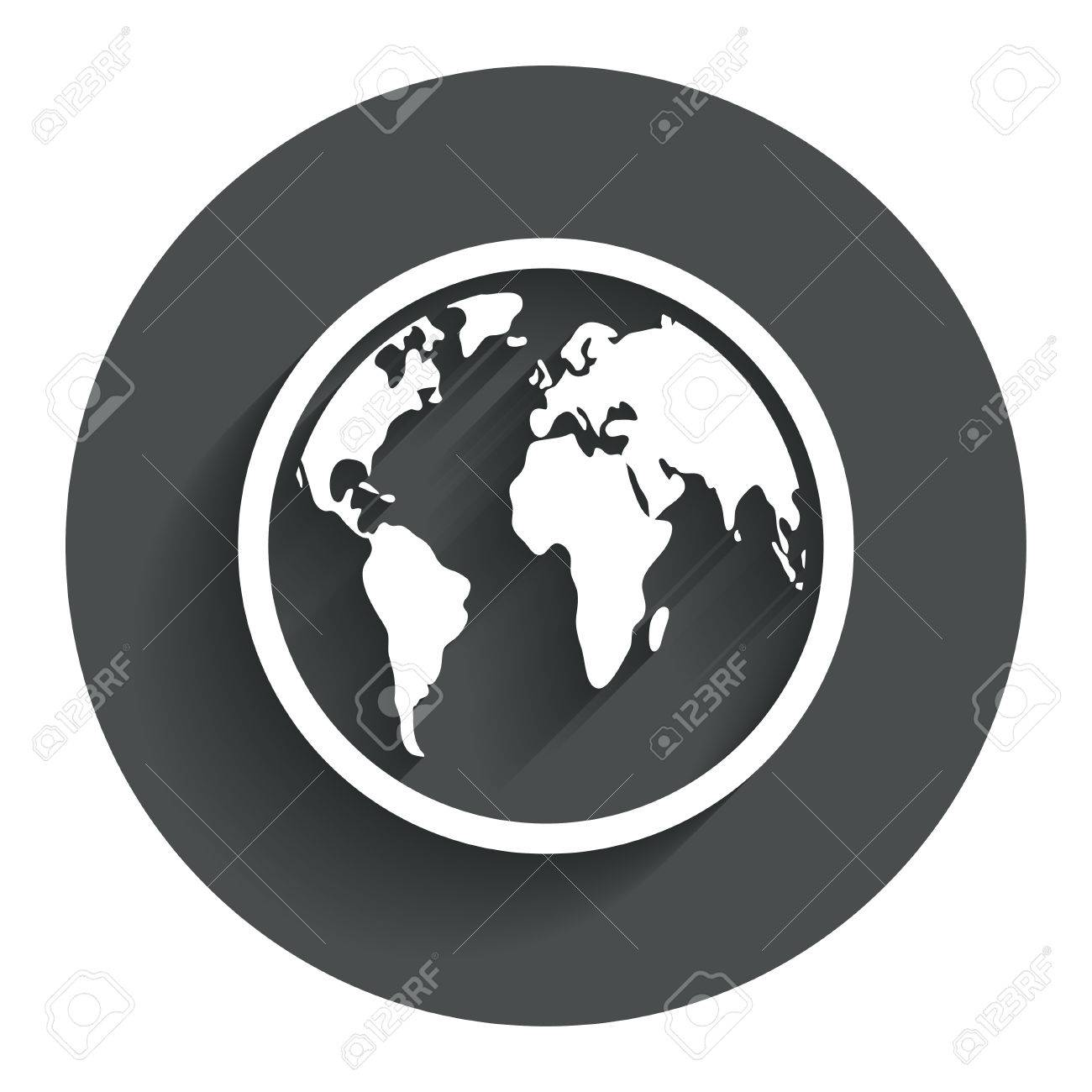 Globe sign icon world map geography symbol circle flat button with world map geography symbol circle flat button with shadow modern gumiabroncs Choice Image