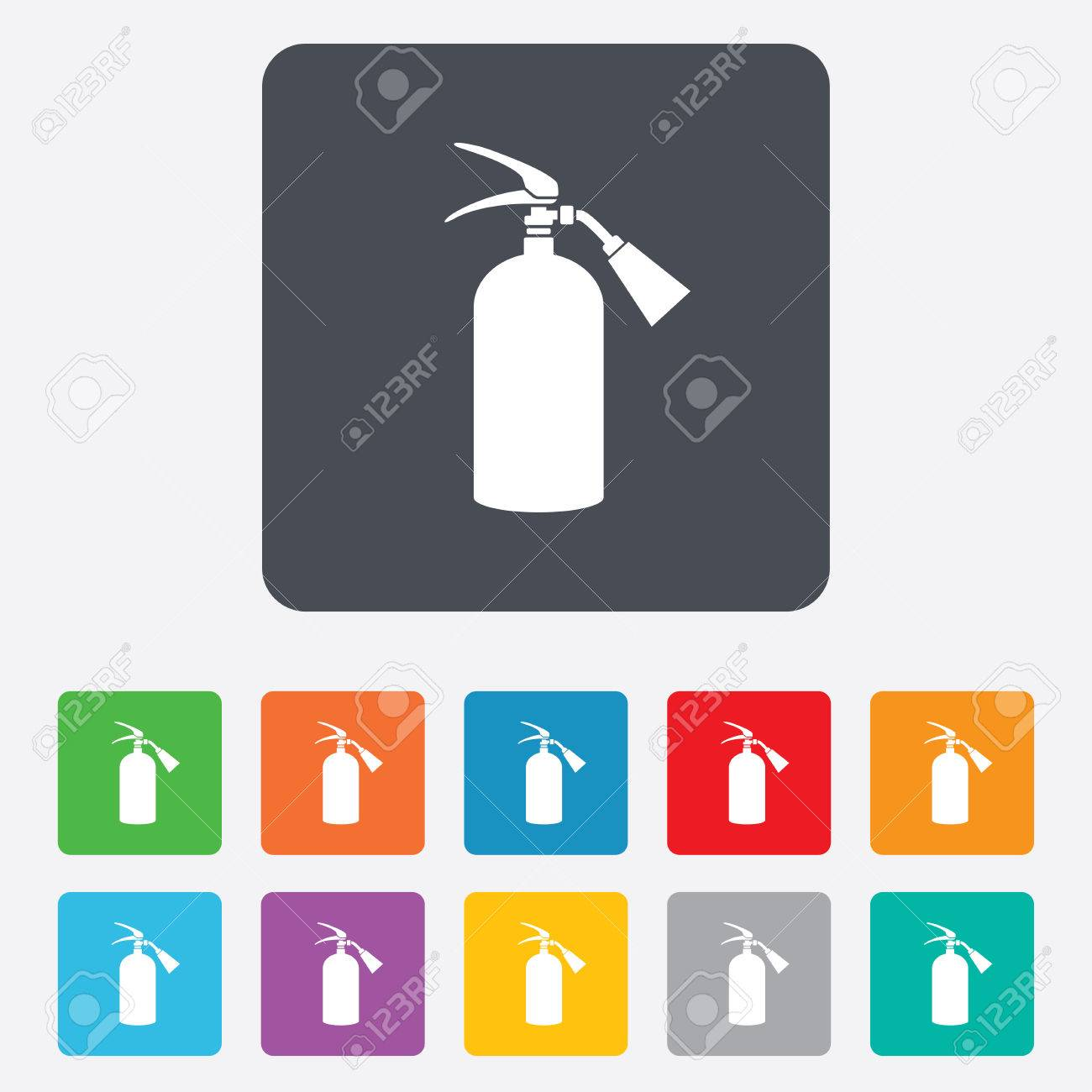 Fire Extinguisher Sign Icon Fire Safety Symbol Rounded Squares