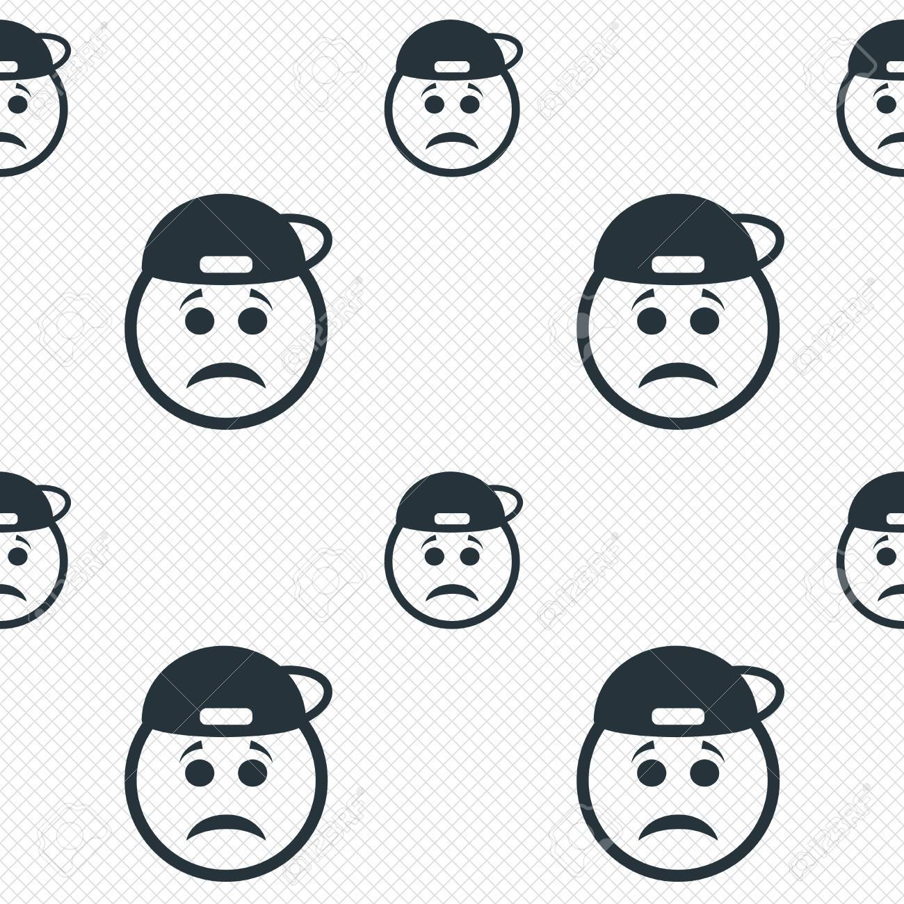 Sad Rapper Face Sign Icon. Sadness Depression Chat Symbol. Seamless ... for Sad Stickers For Facebook Chat  75tgx