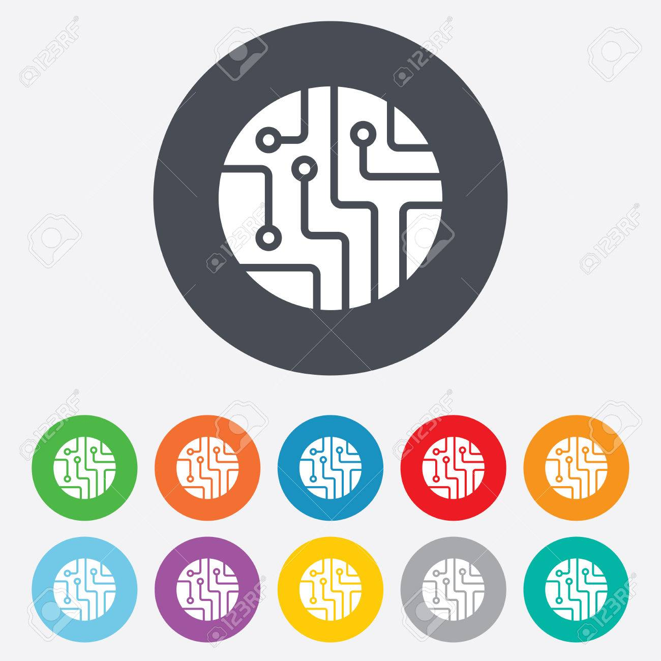 Circuit Board Sign Icon. Technology Scheme Circle Symbol. Round ...