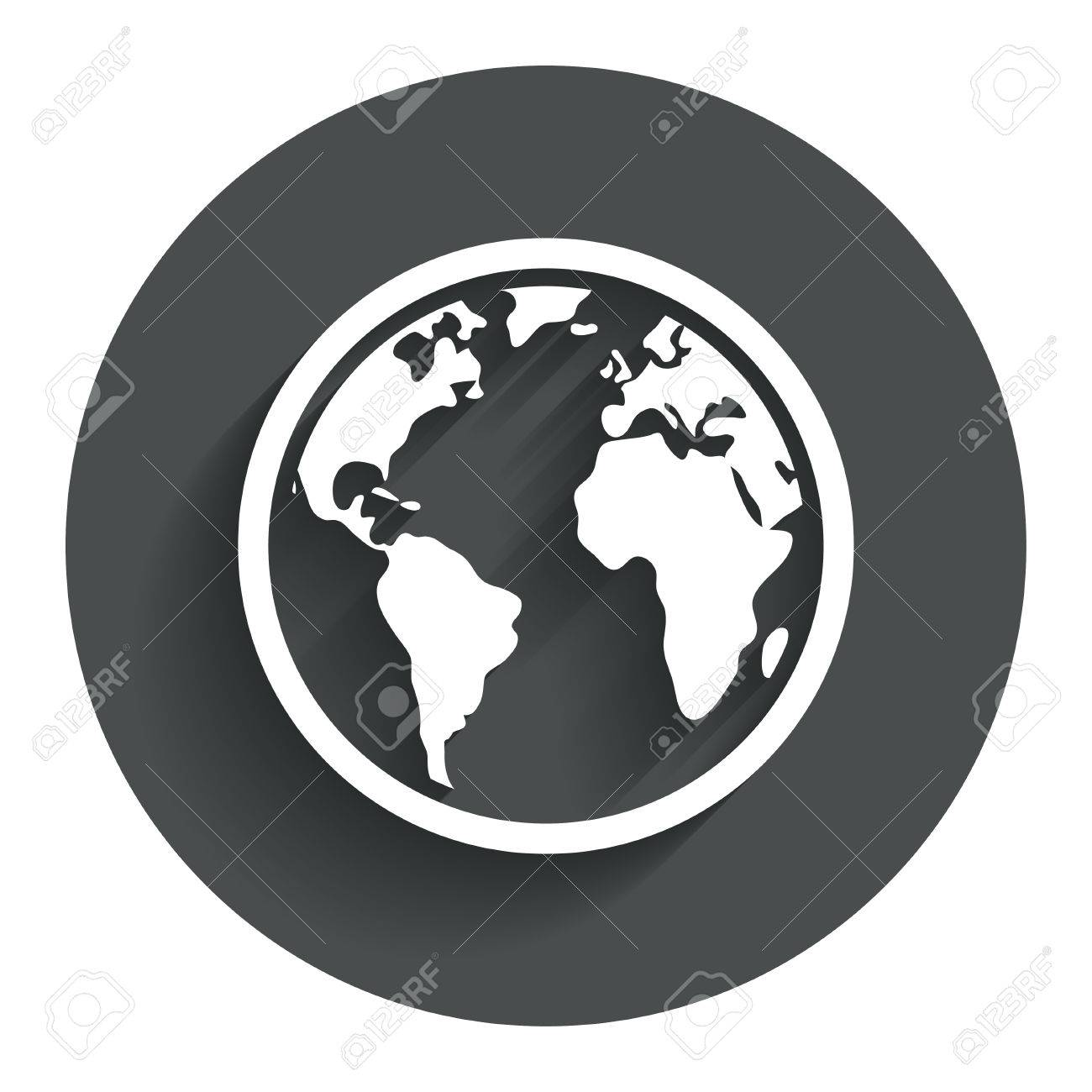 Globe sign icon world map geography symbol circle flat button world map geography symbol circle flat button with shadow modern gumiabroncs Gallery