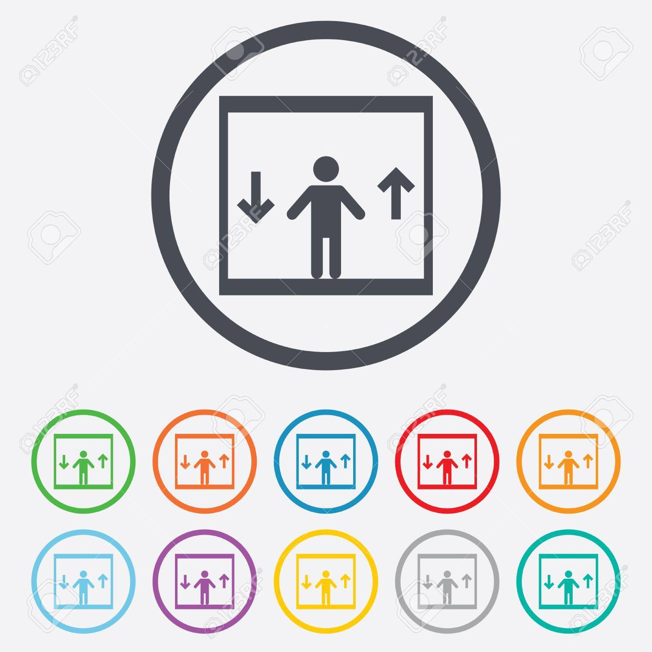 elevator sign icon person symbol with up and down arrows round rh 123rf com