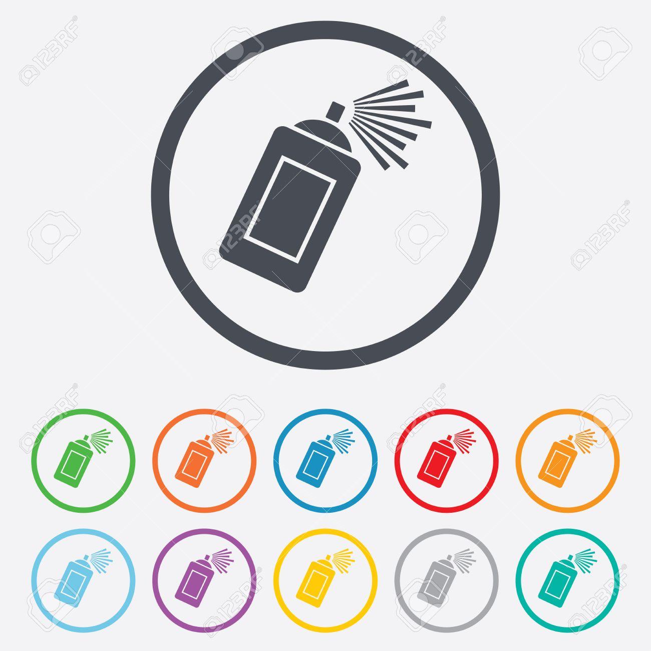 Graffiti-Spray Kann Symbol Unterzeichnen. Sprühfarbe Symbol. Runde ...