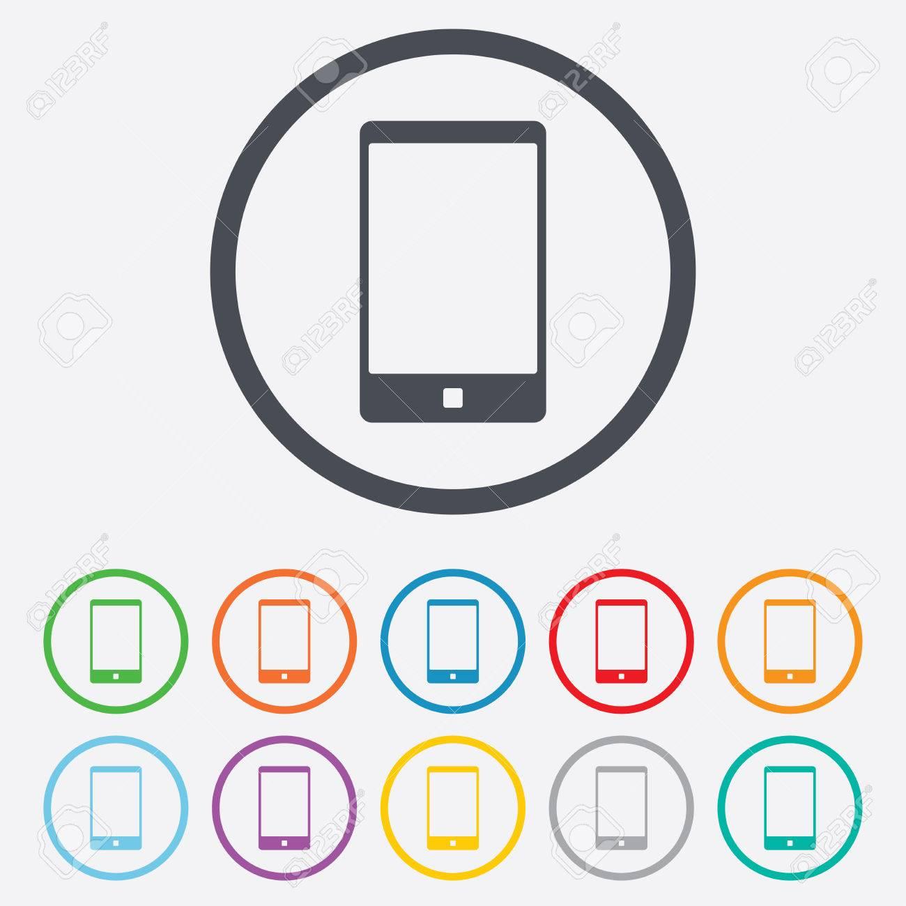 Smartphone-Symbol Unterzeichnen. Symbol. Call Center. Runde Kreis ...
