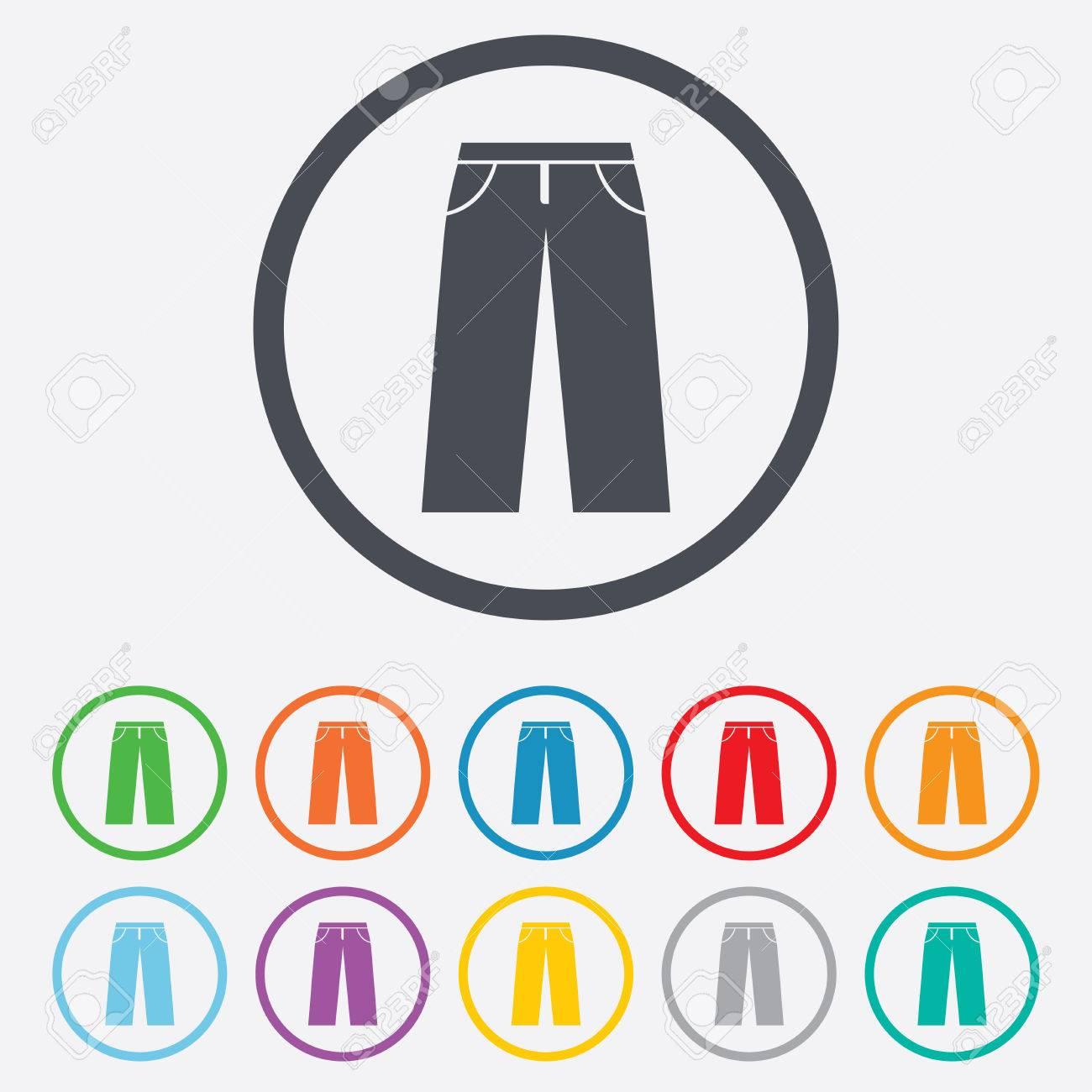 Herren-Jeans Oder Hosen Symbol. Lässige Kleidung Symbol. Runde Kreis ...