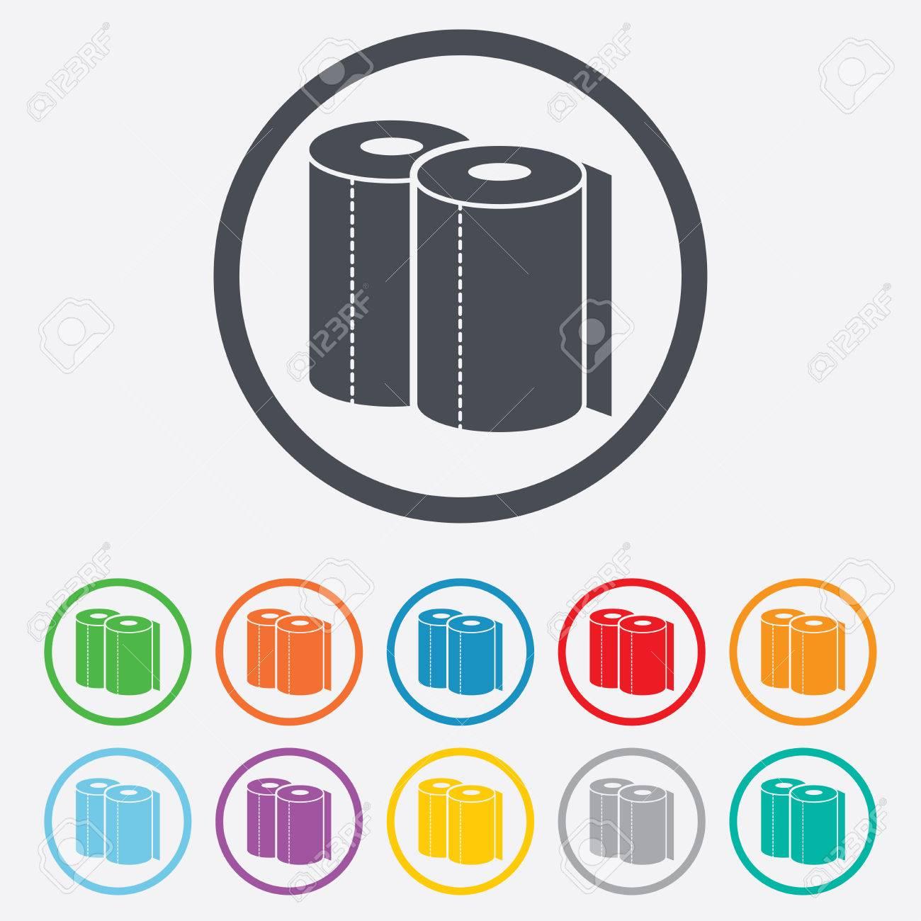 Papierhandtücher Zu Unterzeichnen Symbol. Küchenrollensymbol. Runde ...
