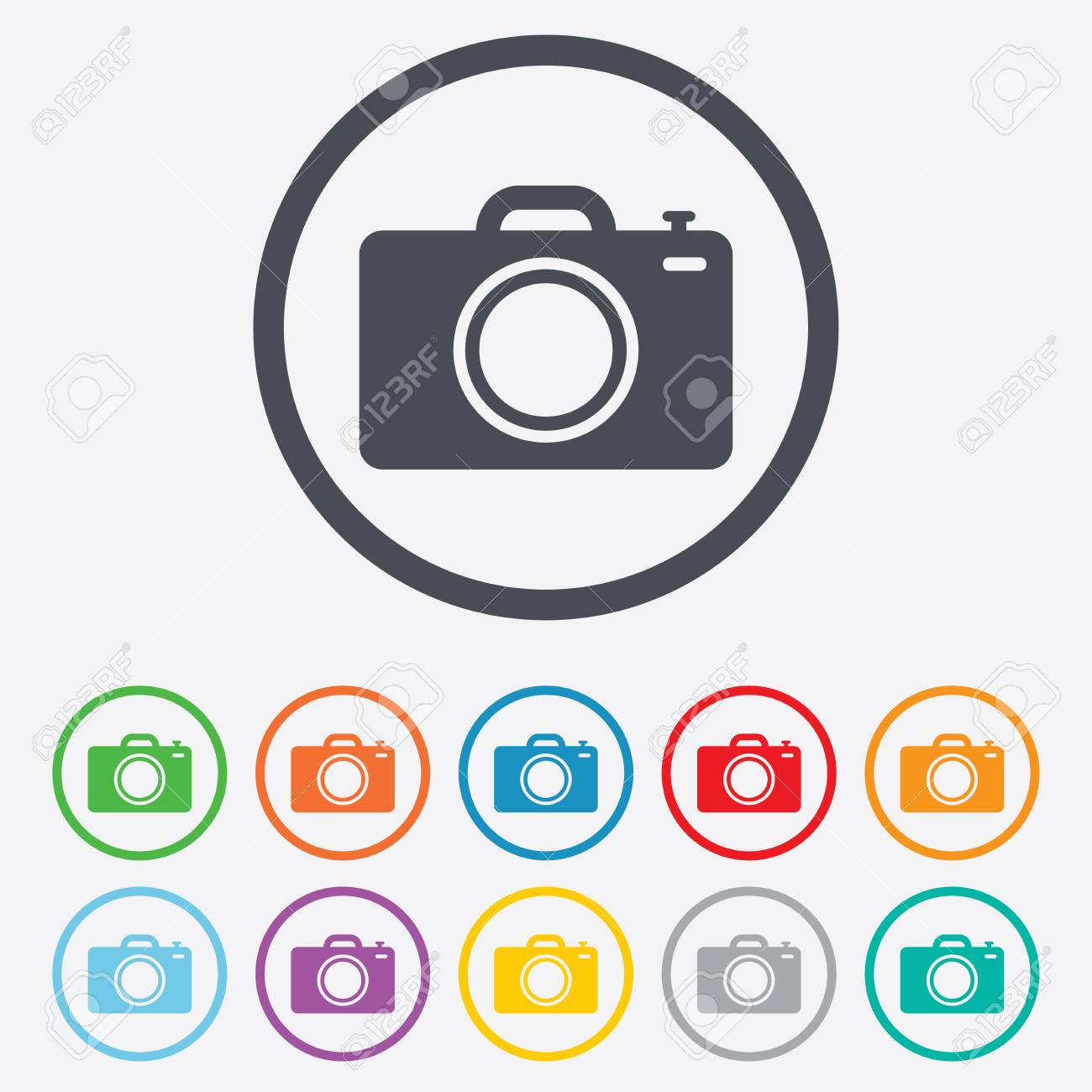 Fotokamera Zeichen-Symbol. Digital-Fotokamera-Symbol. Runde Kreis ...
