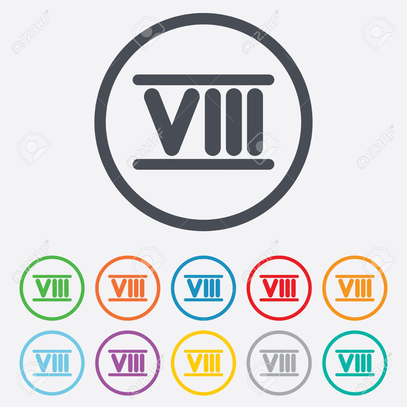 Roman Numeral Eight Sign Icon. Roman Number Eight Symbol. Round ...
