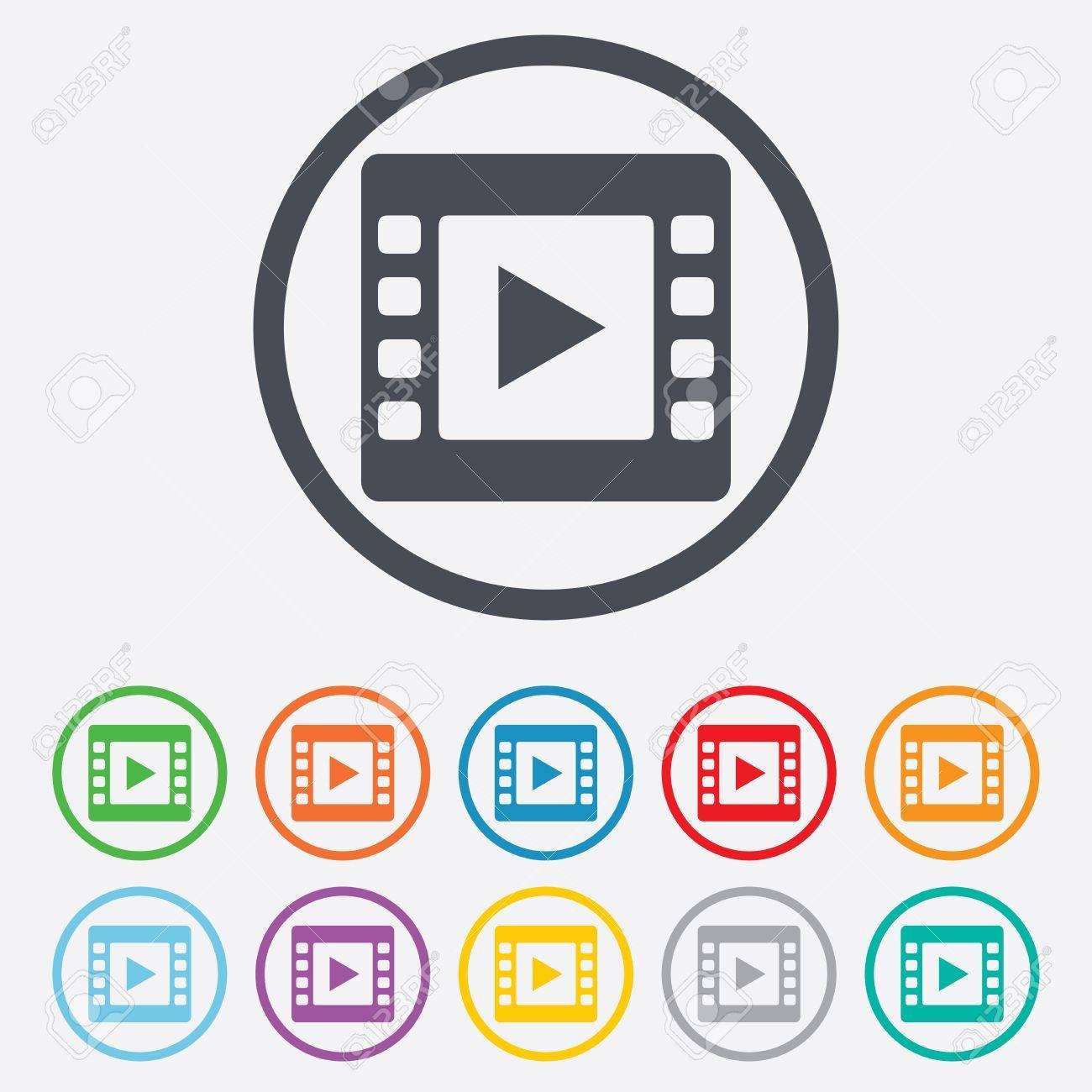 Video Zeichen-Symbol. Video-Frame-Symbol. Runde Kreis-Schaltflächen ...