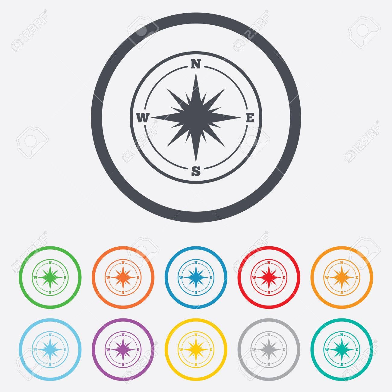 Kompass-Zeichen-Symbol. Wind-rose Navigationssymbol. Runde Kreis ...