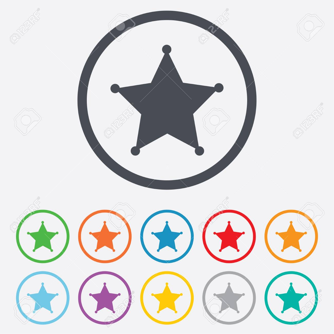 Icono De Señal De La Estrella Del Sheriff. Botón De Policía. Símbolo ...