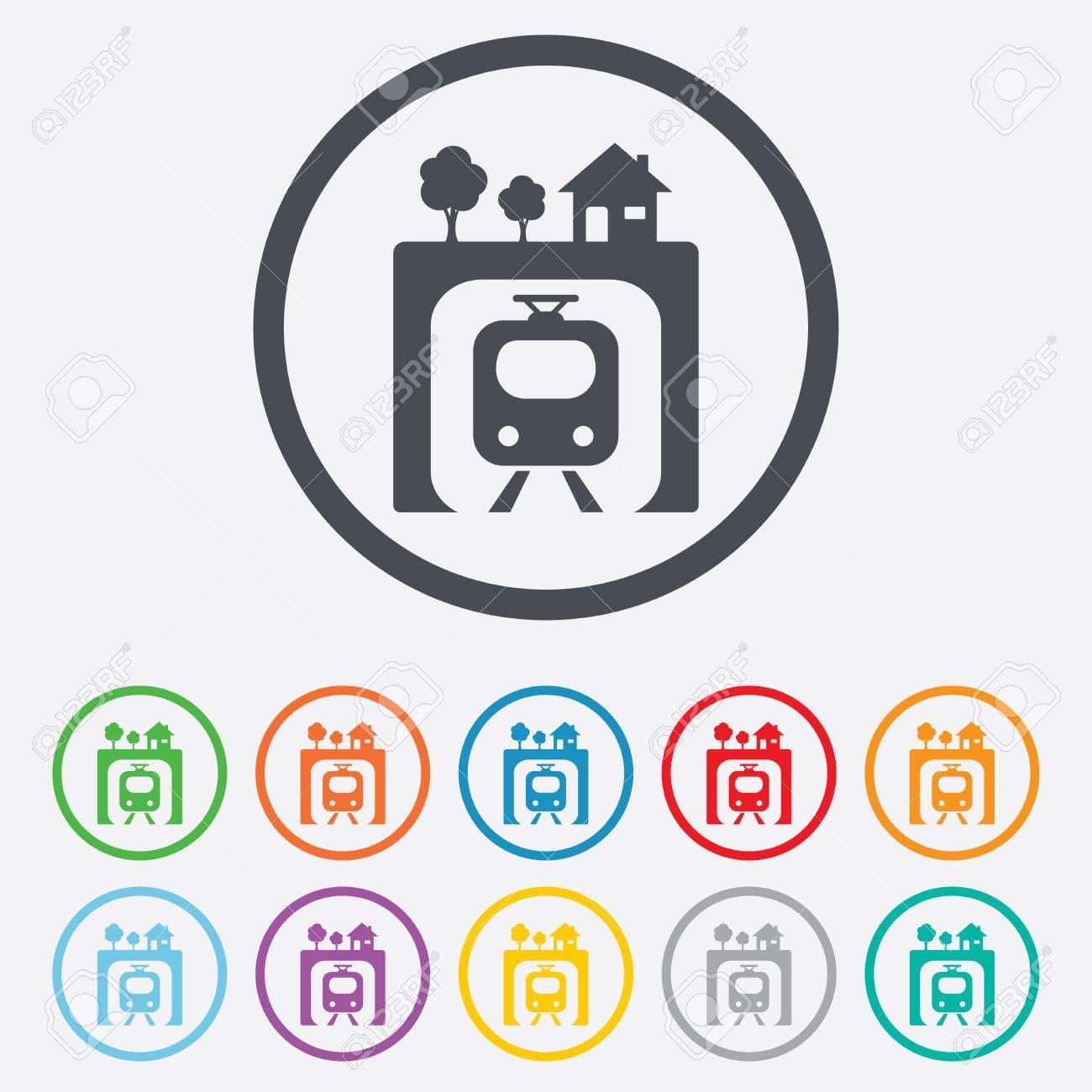 Icono De Signo De Metro. Metro Símbolo Tren. Botones De Círculo ...