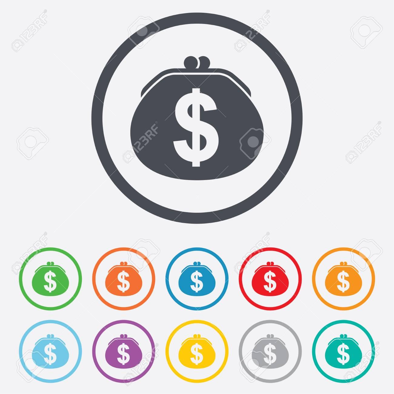 Wallet Dollarzeichen-Symbol. Geldbeutel-Symbol. Runde Kreis ...