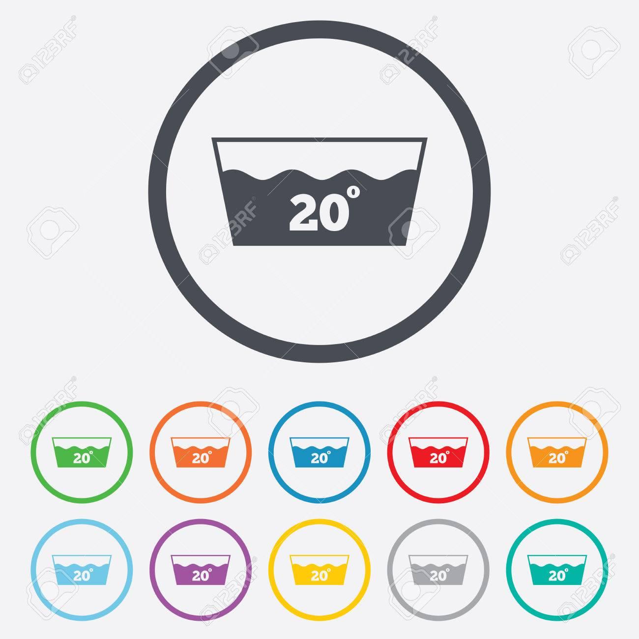 Wash-Symbol. Maschinenwäsche Bei 20 Grad-Symbol. Runde Kreis ...