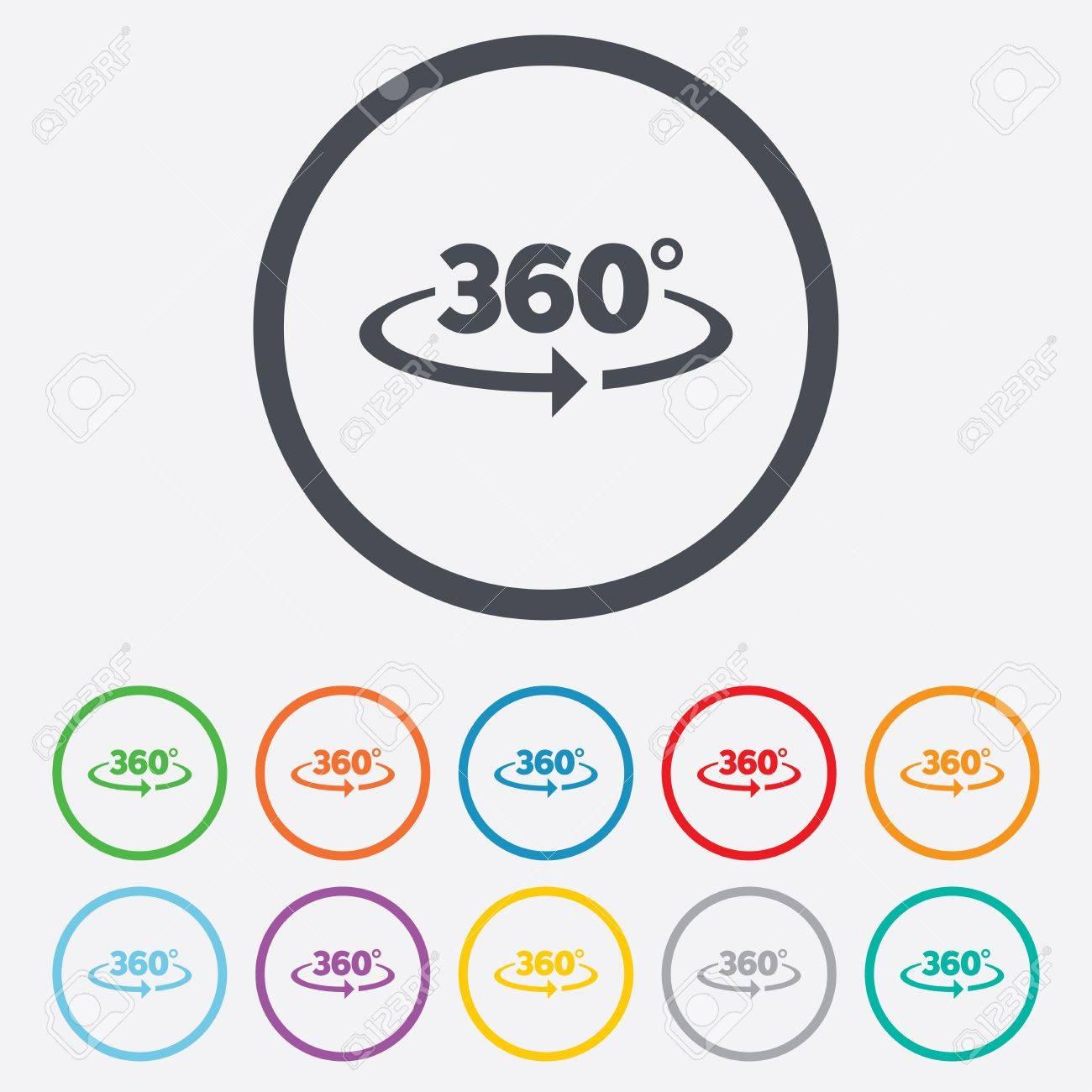 Winkel 360 Grad Unterzeichnen Symbol. Geometrie Mathe Symbol. Volle ...