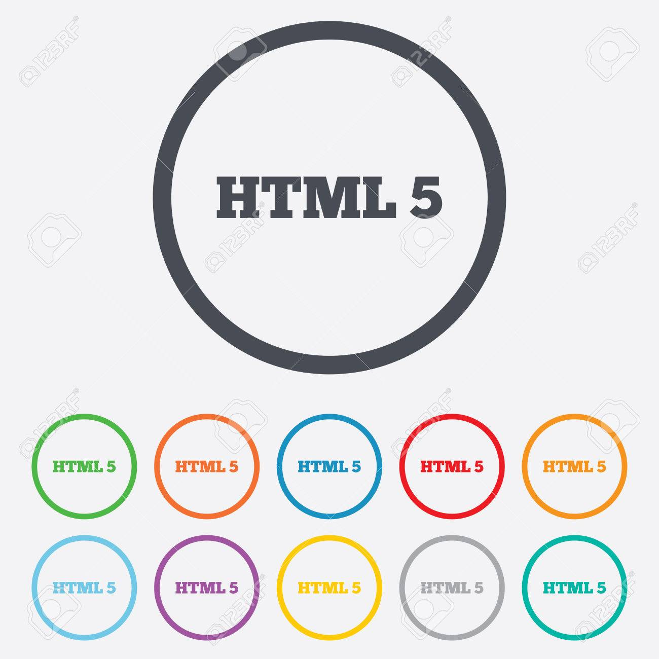 Html5 Sign Icon New Markup Language Symbol Round Circle Buttons