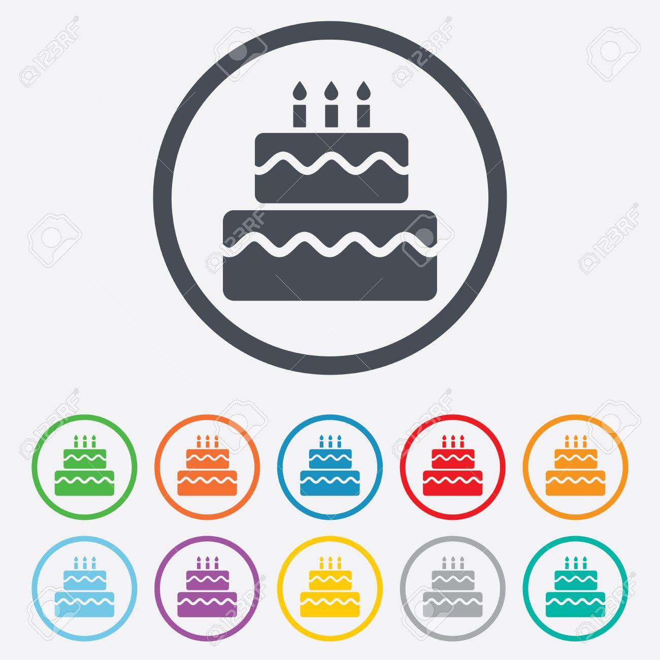 Birthday cake sign icon cake with burning candles symbol round birthday cake sign icon cake with burning candles symbol round circle buttons with frame buycottarizona