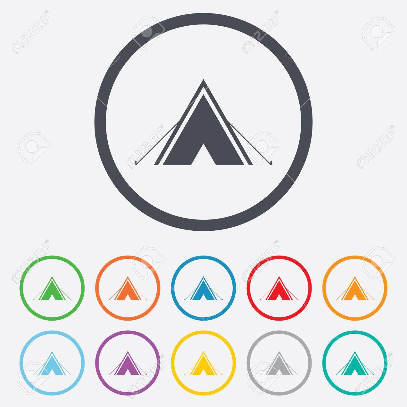 Tourist-Zelt Symbol. Camping-Symbol. Runde Kreis Schaltflächen Mit ...