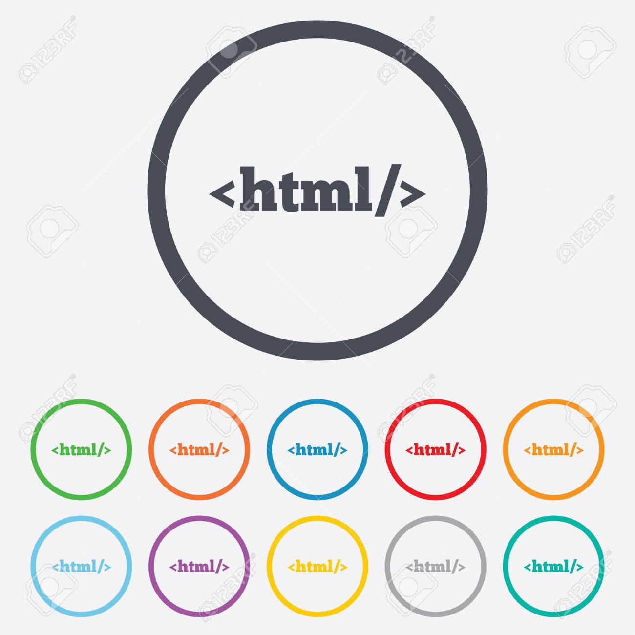HTML Sign Icon. Markup Language Symbol. Round Circle Buttons With ...