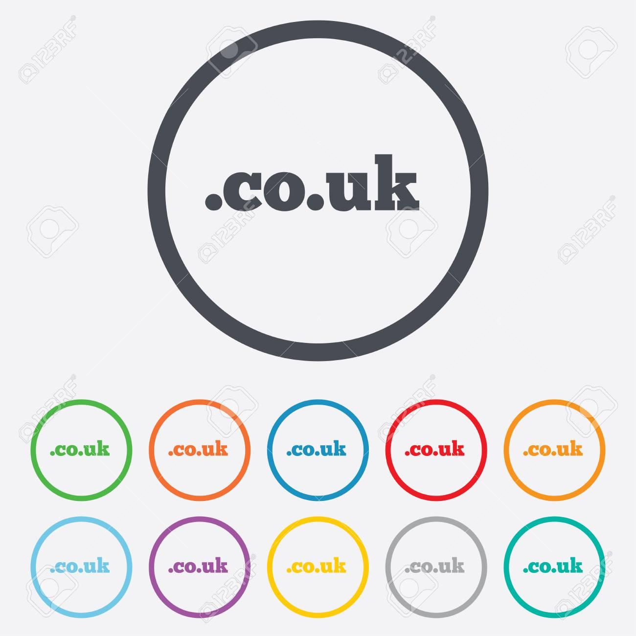 Domain CO.UK Zeichen-Symbol. UK Internetdomäne Symbol. Runde Kreis ...