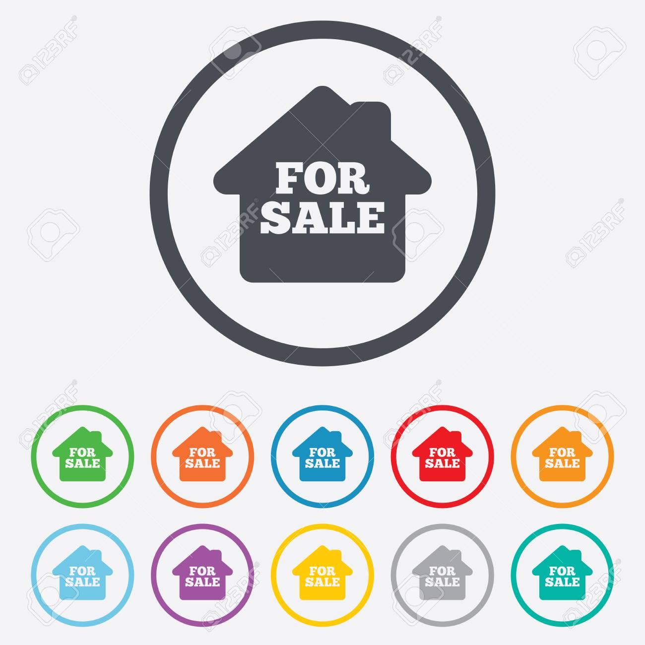 Zu Verkaufen Zeichen-Symbol. Immobilien Zu Verkaufen. Runde Kreis ...