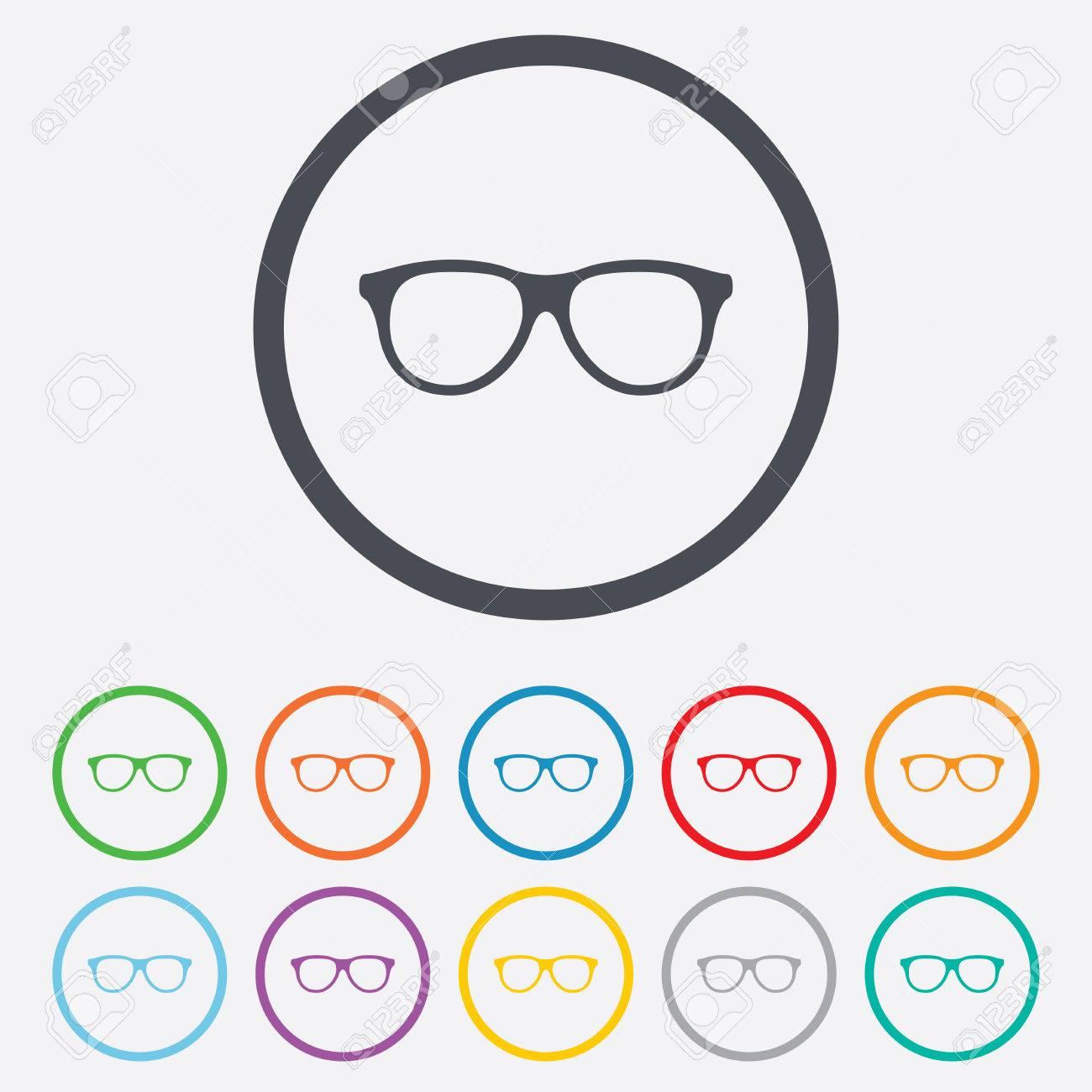 Vidrios Retros Firman Icono. Símbolo De Montura De Gafas. Botones De ...