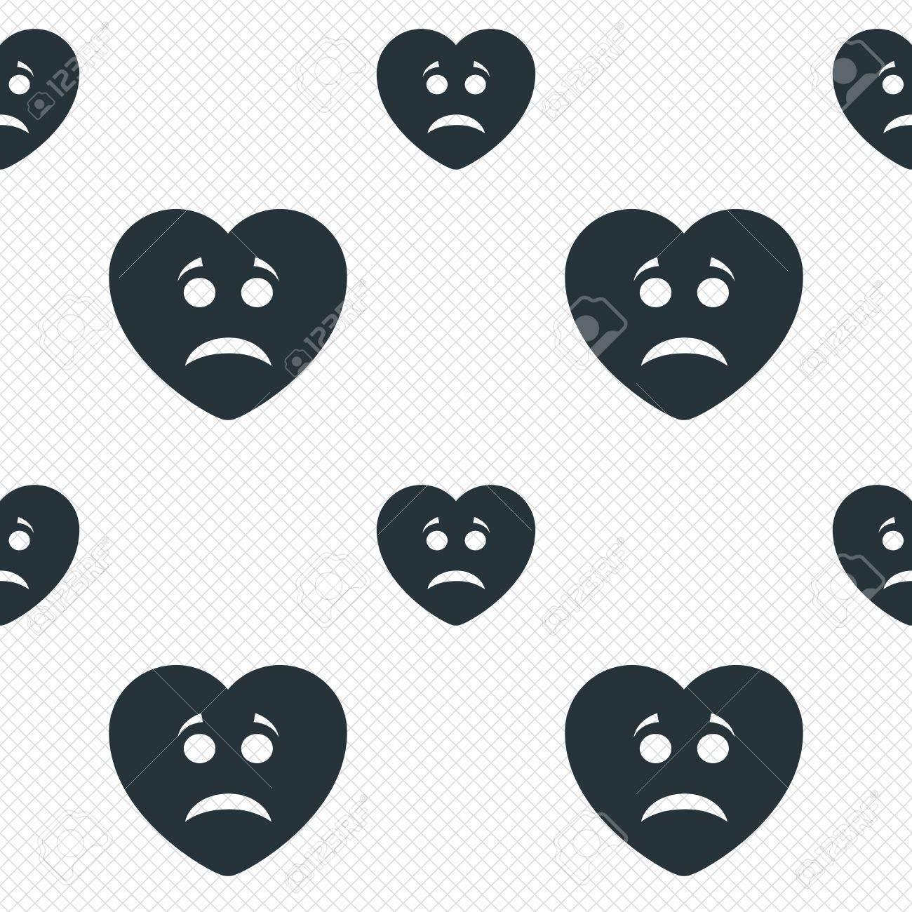 Foto de archivo , Triste signo icono cara del corazón. Tristeza símbolo  depresión de chat. Líneas de la cuadrícula Perfecta textura.