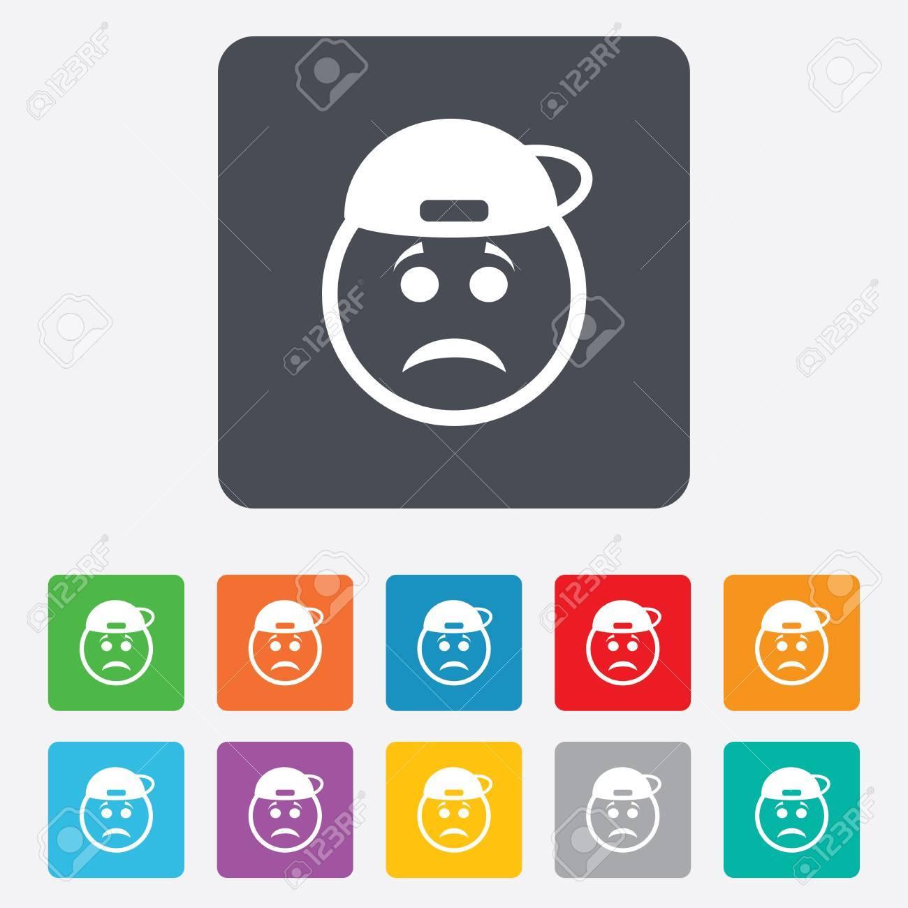 Foto de archivo , Triste signo icono cara rapero. Tristeza símbolo  depresión de chat. Cuadrados redondeados 11 botones.
