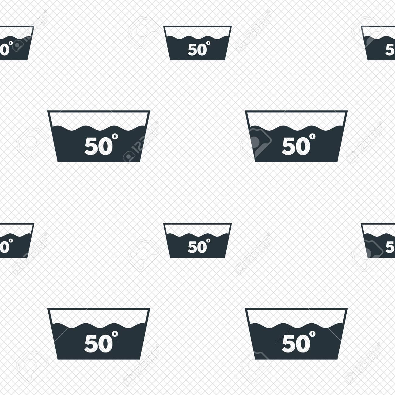 Wash Icon Machine Washable At 50 Degrees Symbol Seamless Grid