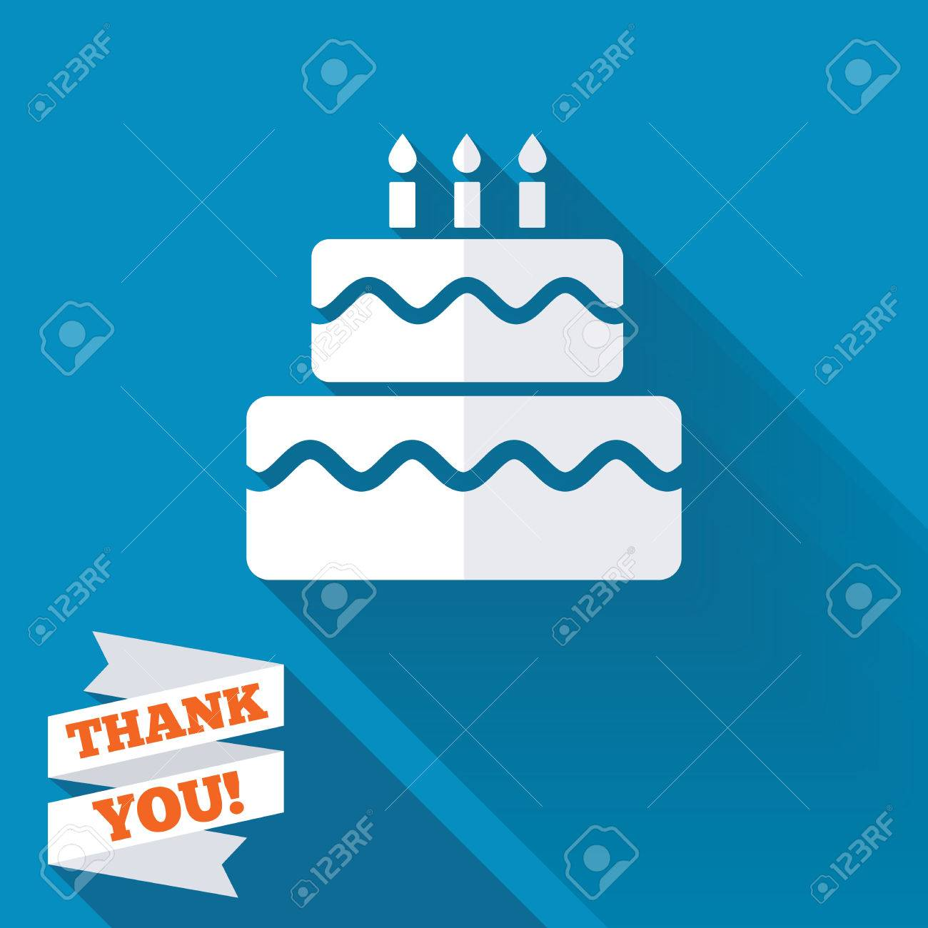 Birthday Cake Sign Icon Cake With Burning Candles Symbol White