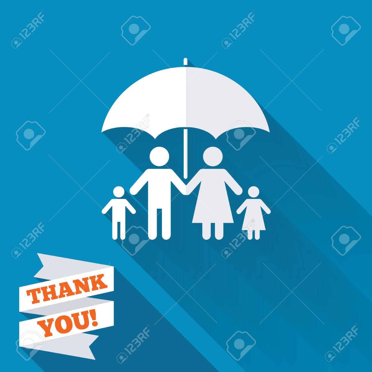 Complete Family Insurance Sign Icon Umbrella Symbol White Flat