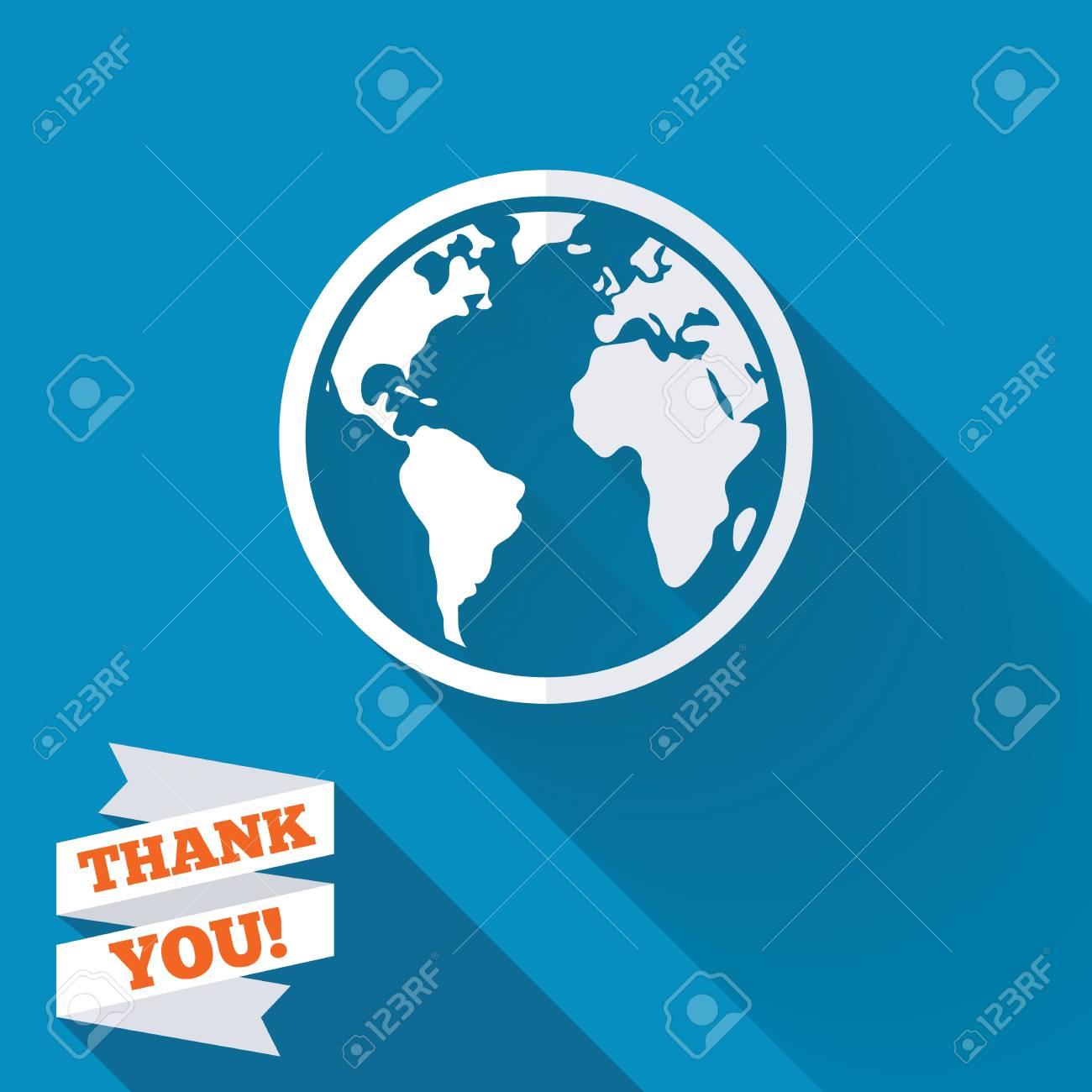 Globe Sign Icon. World Map Geography Symbol. White Flat Icon.. Stock ...