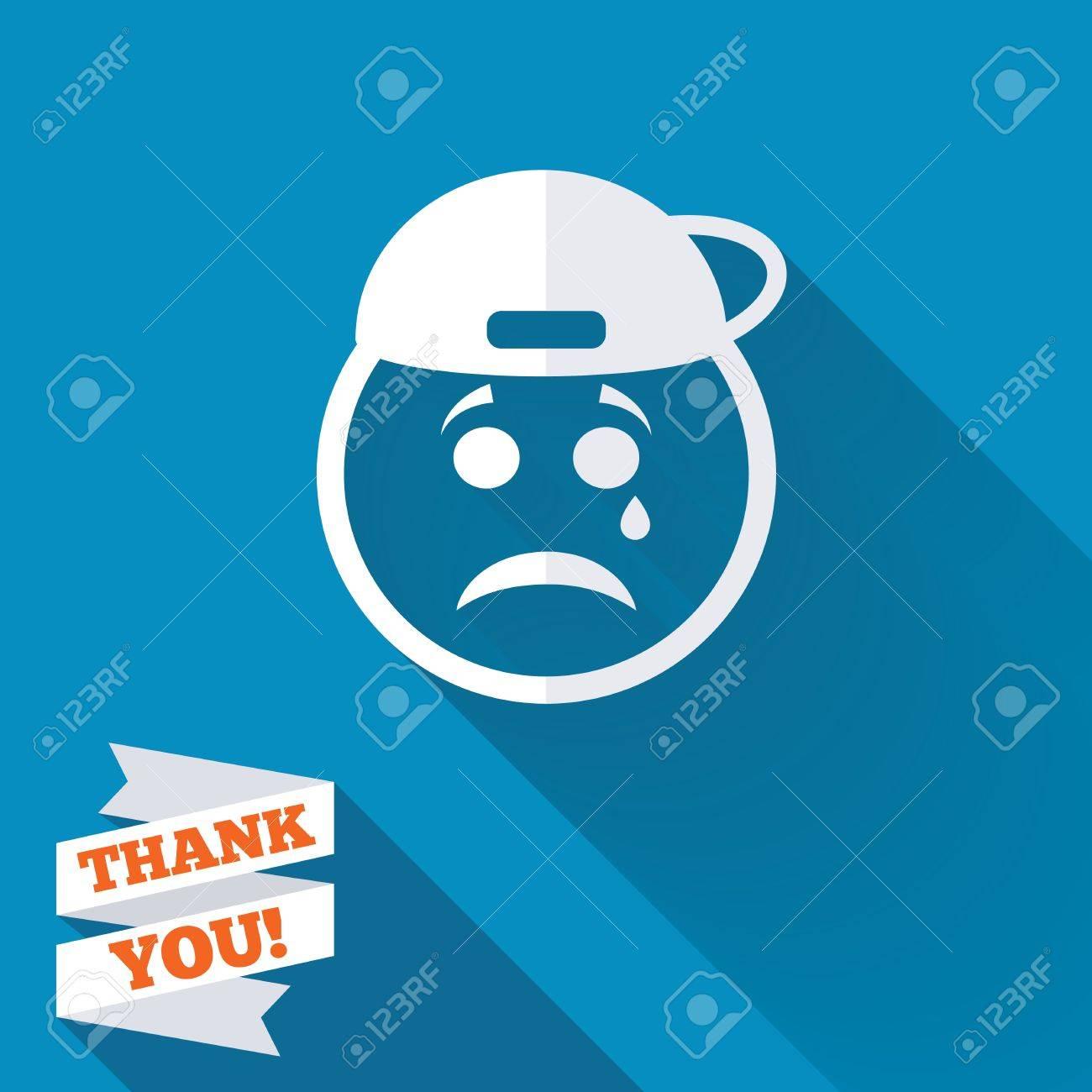 Cara rapero triste con signo icono desgarro. Llorando símbolo de chat.  Icono blanco plana