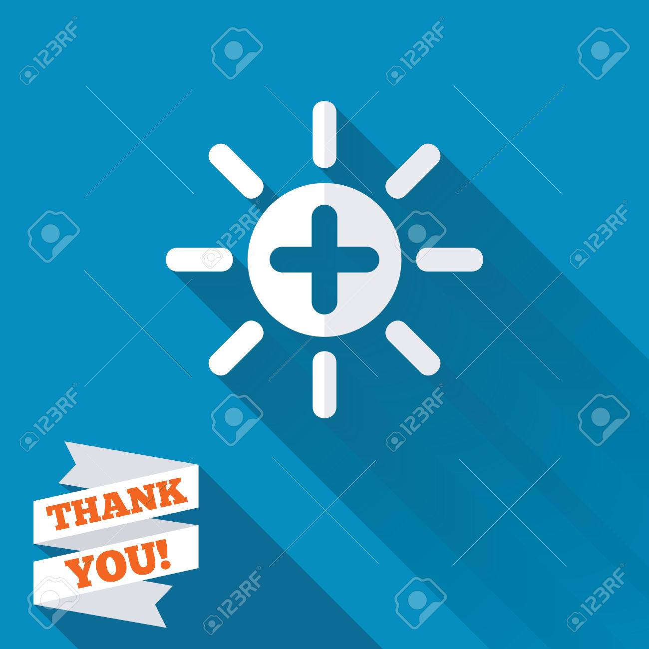 Sun plus sign icon heat symbol brightness button white flat sun plus sign icon heat symbol brightness button white flat icon with long biocorpaavc Choice Image