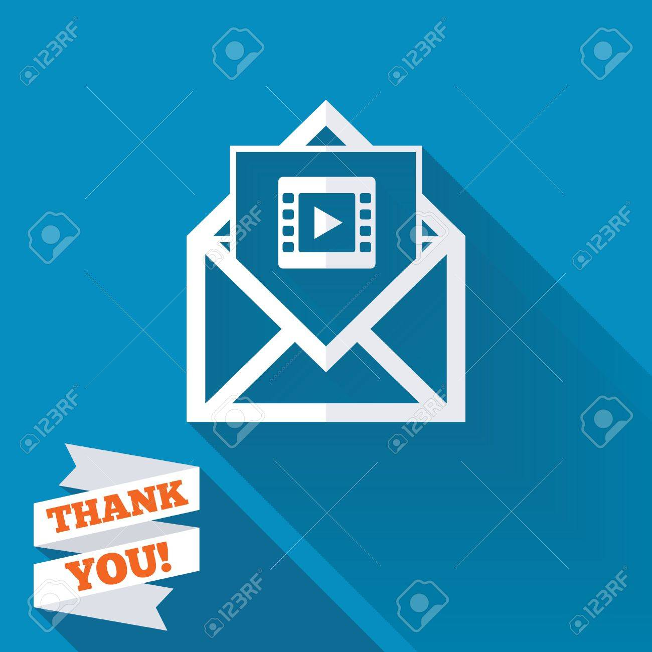 Video Mail Icon. Video Frame Symbol. Message Sign. White Flat ...