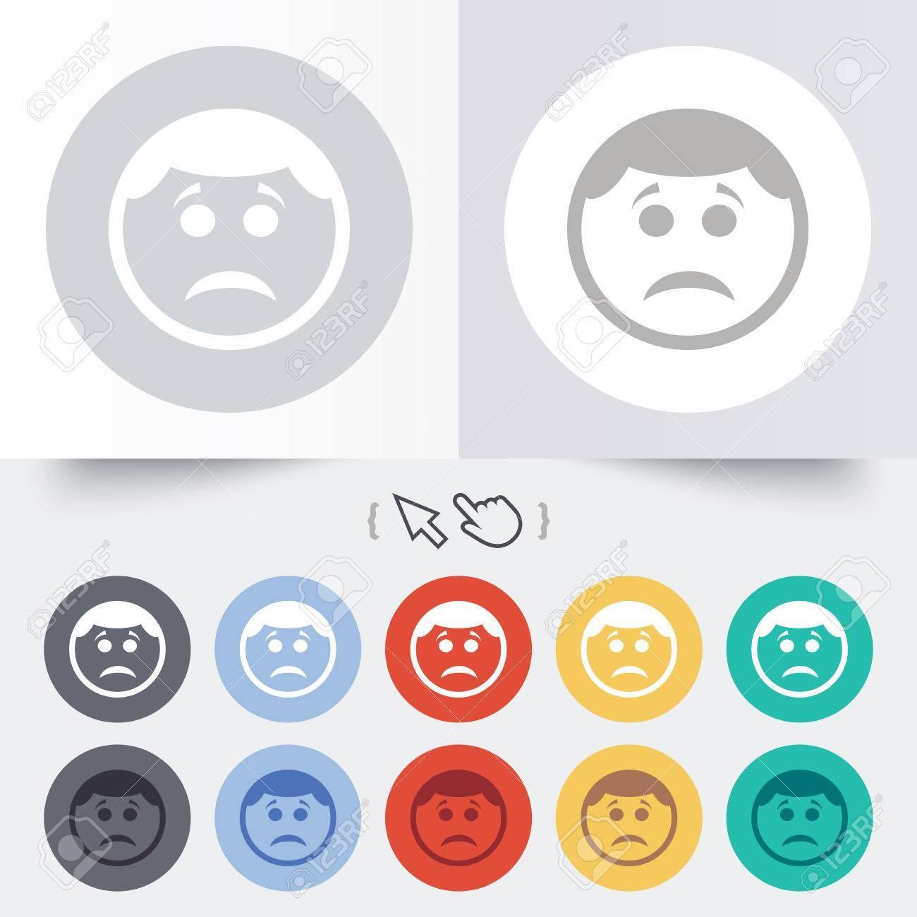Foto de archivo , Triste signo icono cara. Tristeza símbolo depresión de  chat. Ronda de 12 botones de círculo. Sombra. Puntero del cursor de la mano.