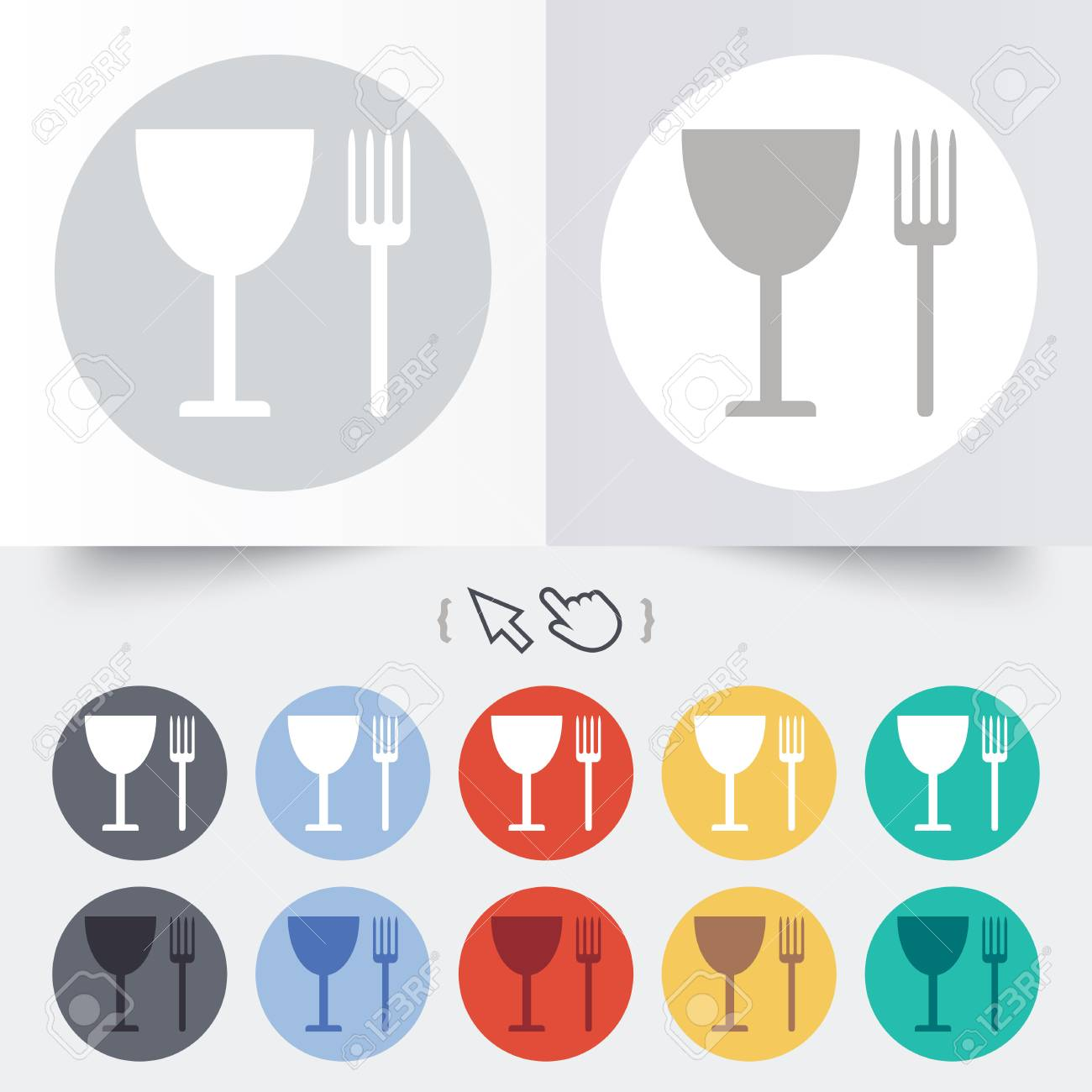 Eat Sign Icon Cutlery Symbol Fork And Wineglass Round 12 Circle