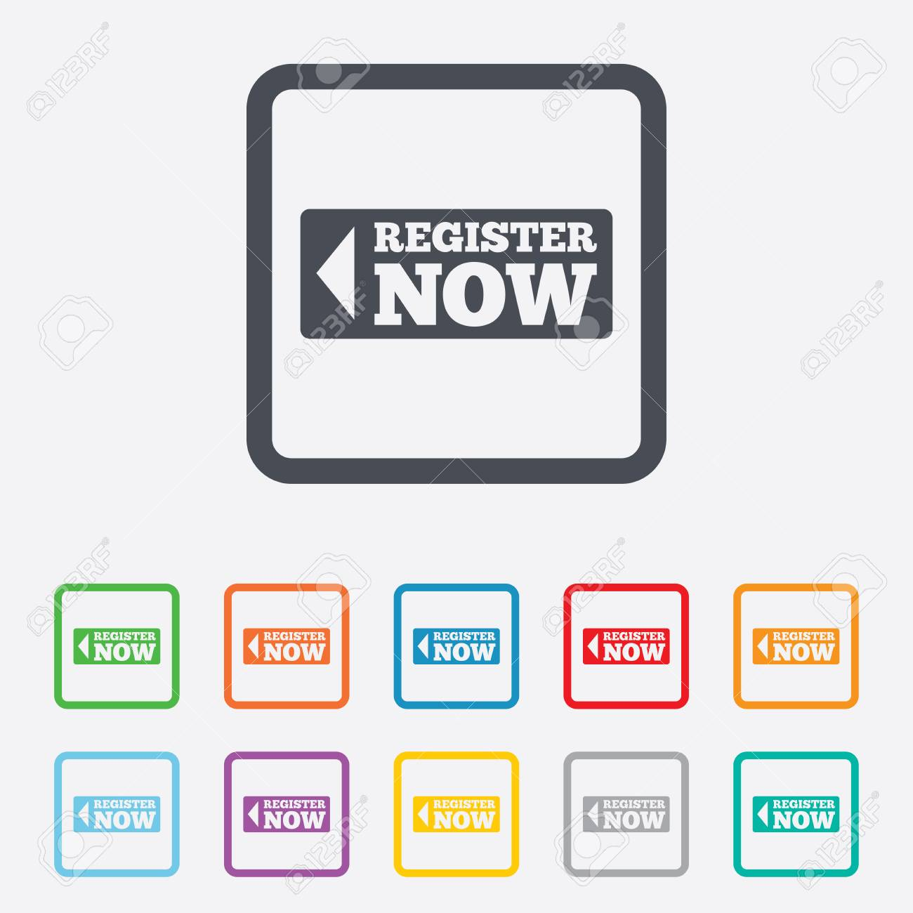 Register Now Sign Icon. Join Button Symbol. Round Squares Buttons ...